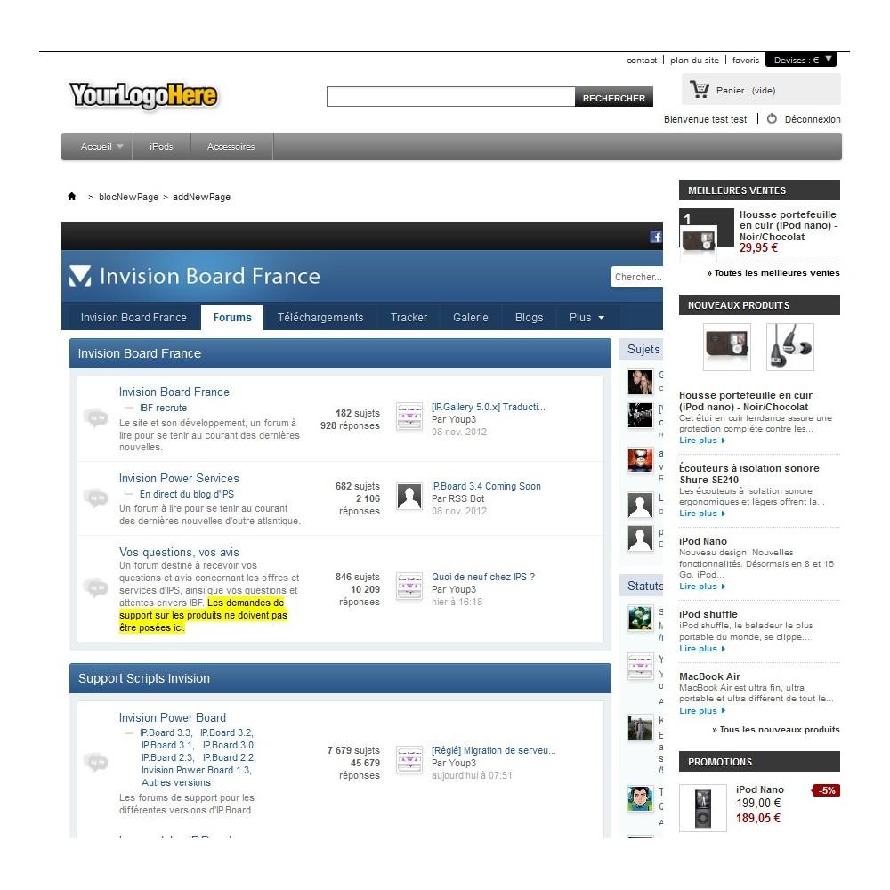 module - Personnalisation de Page - Wrapper / iFrame . Insérez une page web extérieure - 5