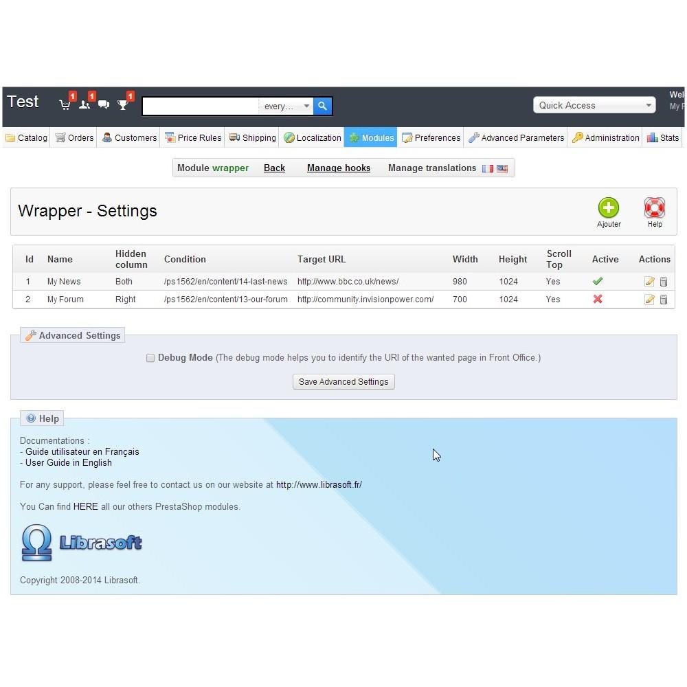 module - Personnalisation de Page - Wrapper / iFrame . Insérez une page web extérieure - 1