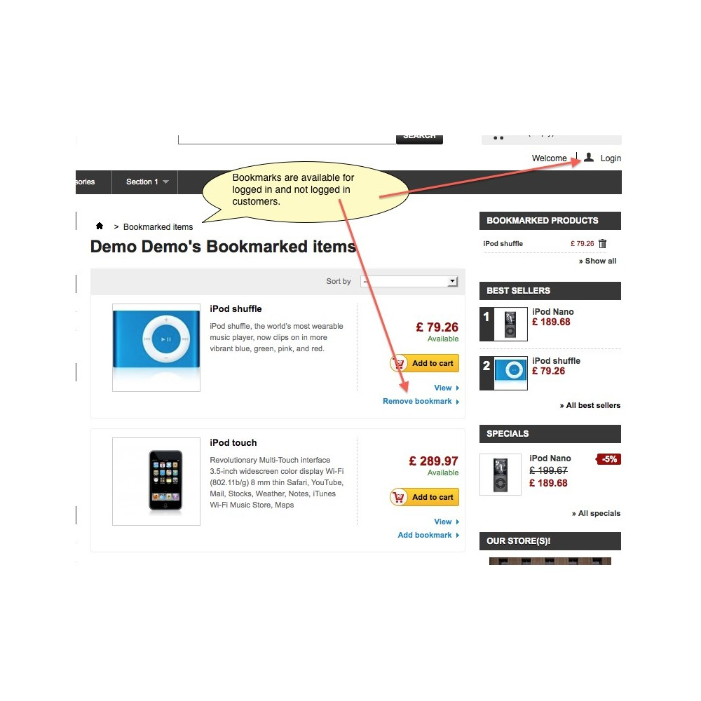 module - Whishlist & Gift Card - Bookmark Products - 5