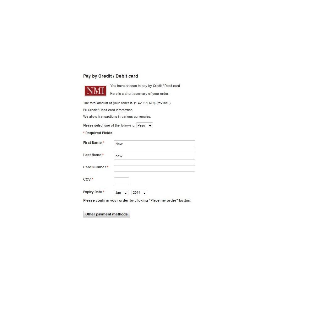 module - Zahlung per Kreditkarte oder Wallet - NMI Payment Gateway - 2