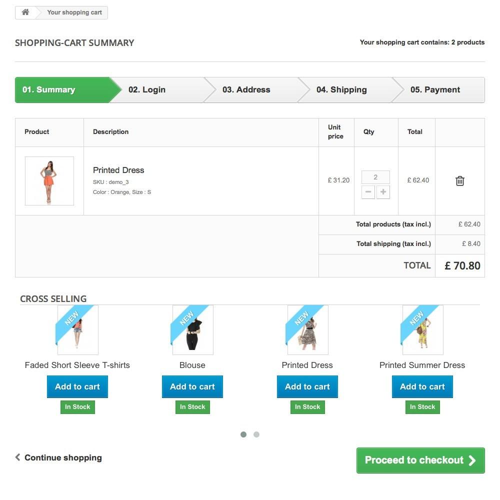module - Vendas cruzadas & Pacotes de produtos - Cross Selling on Cart - Vendas cruzadas (cross-selling) - 3