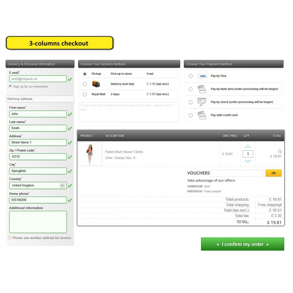 module - Express Checkout Prozesse - One page checkout for Prestashop - 7