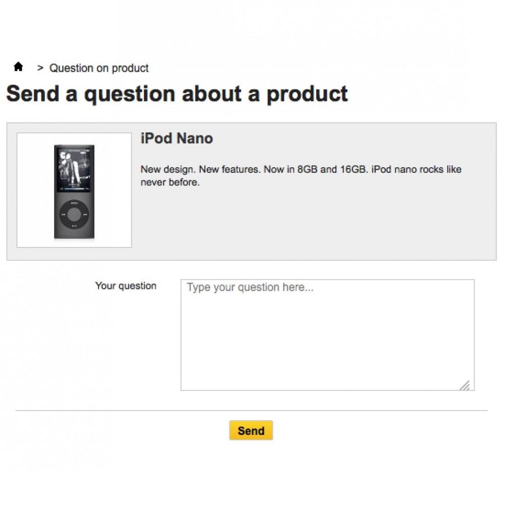 module - Formulário de contato & Pesquisas - Froggy Question on Product - 2