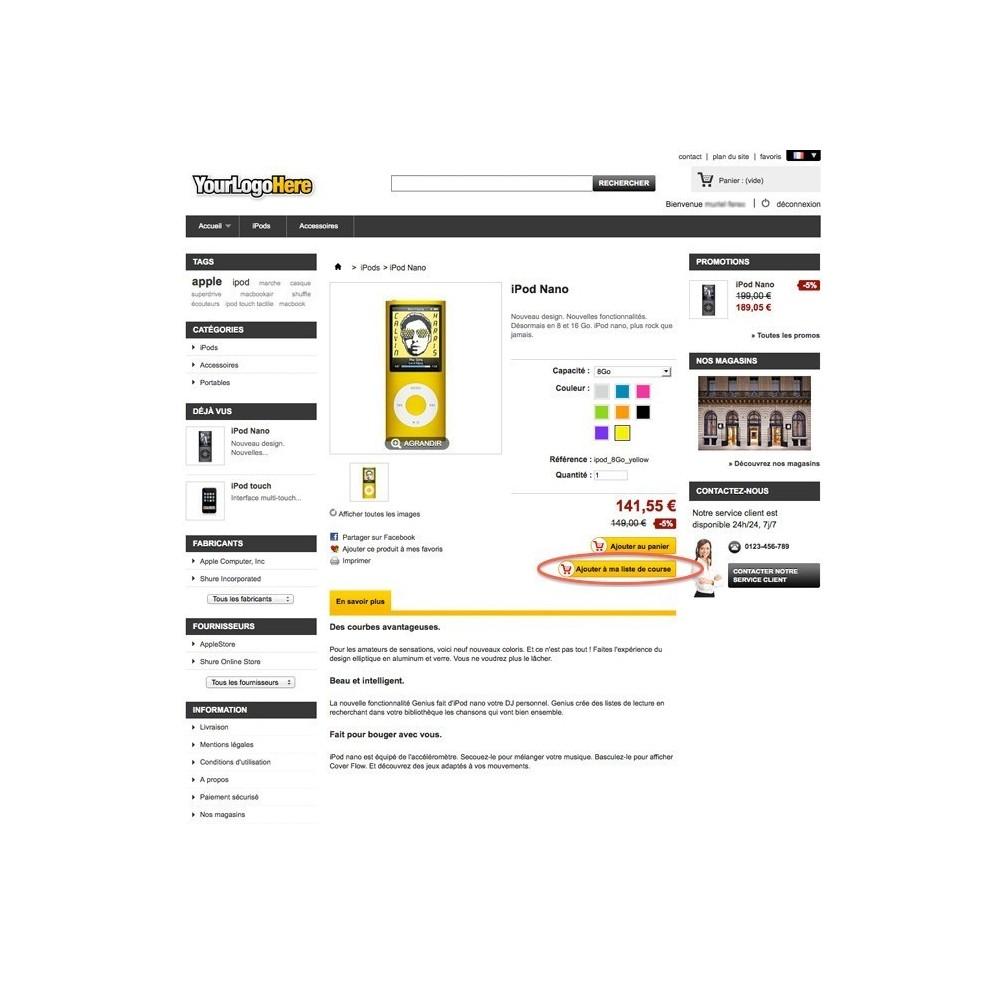 module - Liste de souhaits & Carte cadeau - Liste de Course / Produit favoris / Wishlist - 4