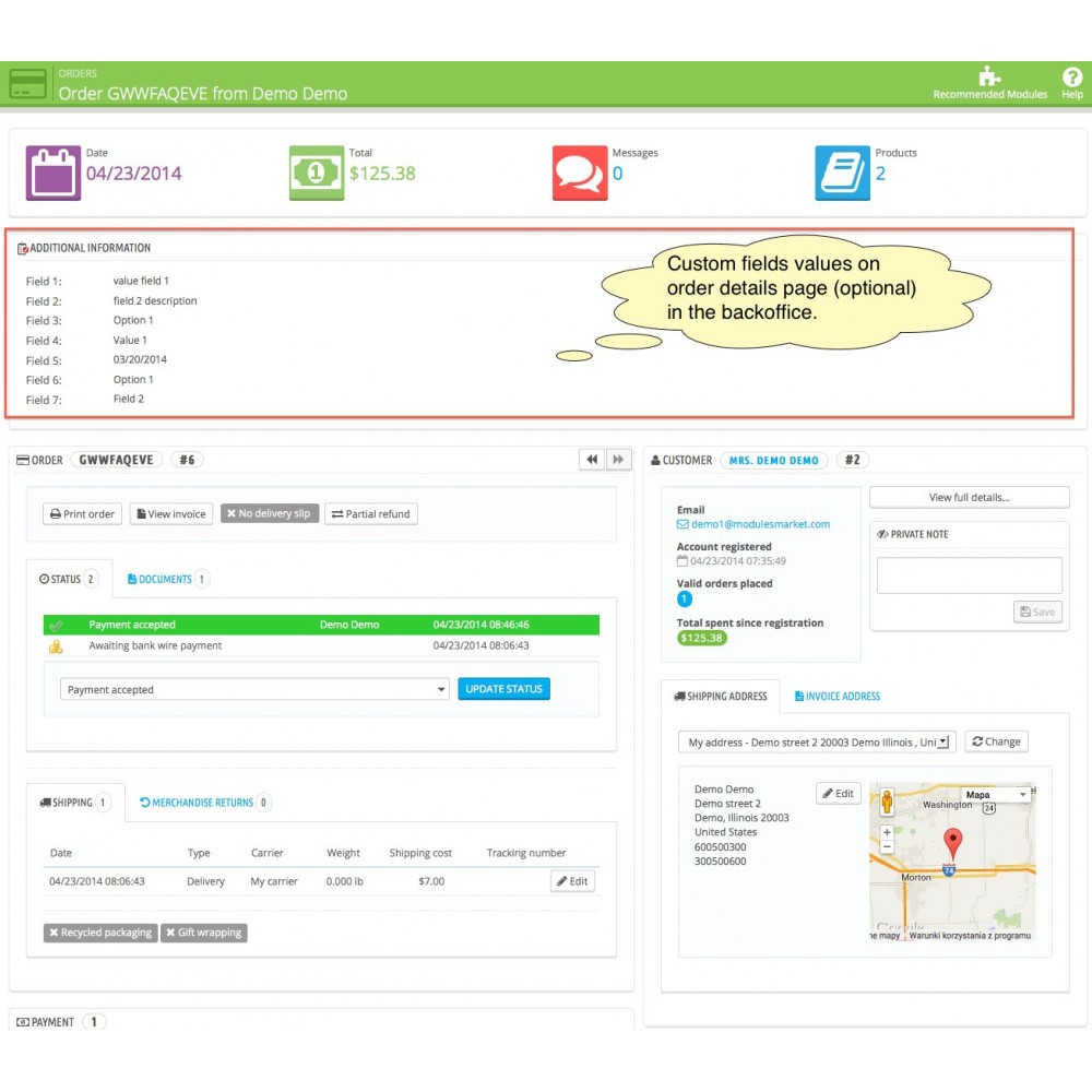 module - Registratie en Proces van bestellingen - Custom Fields - 7