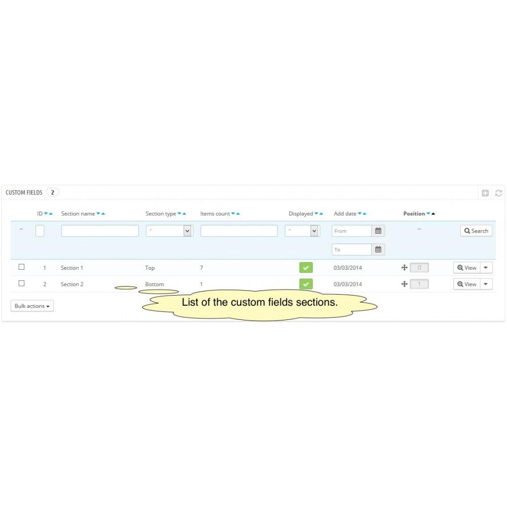 module - Registratie en Proces van bestellingen - Custom Fields - 12