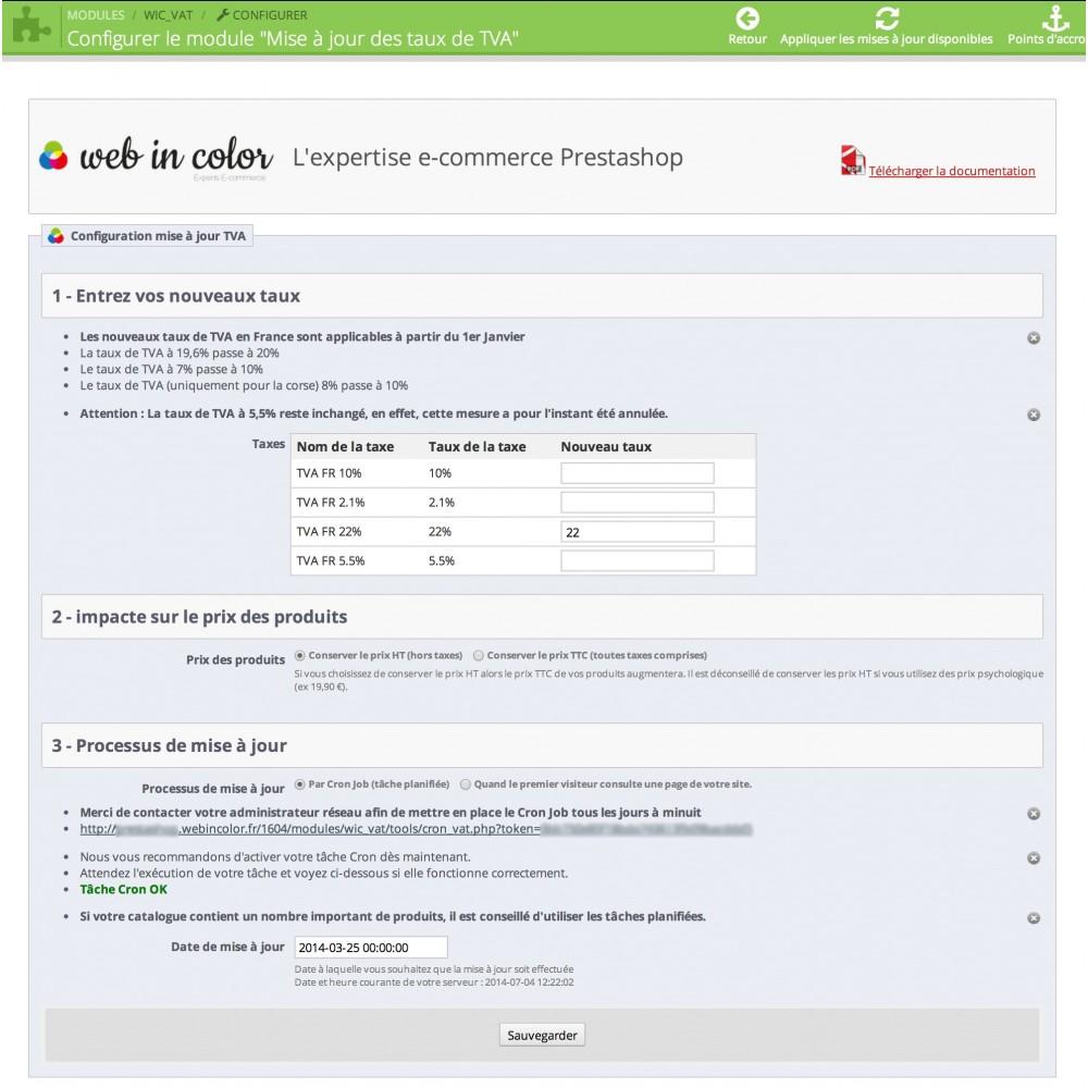module - Gestión de Precios - Updating VAT rates - 2