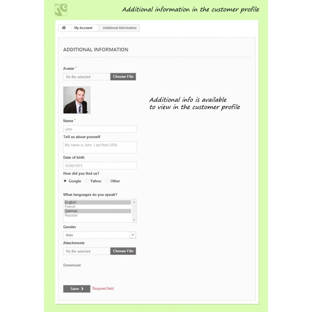 module - Registratie en Proces van bestellingen - Customer Attributes and Registration Fields - 6