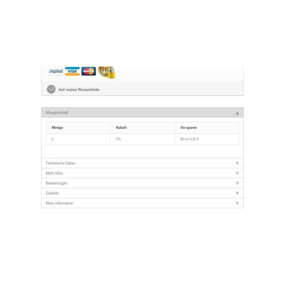 module - Dodatkowe informacje & Zakładka produktu - Tabs2Accordion - 1