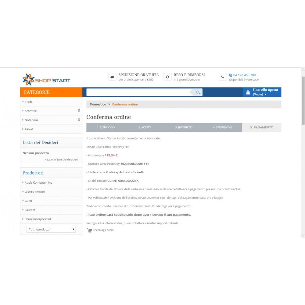 module - Pagamento Anticipato - Modulo Postepay Prestashop 1.5 / 1.6 con CF - 9