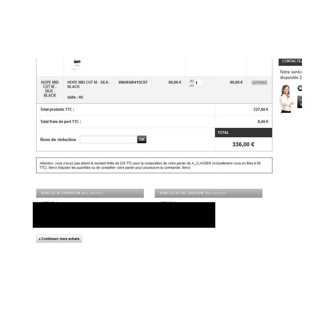 module - Inscription & Processus de commande - Montant minimum de commande pour une catégorie - 2