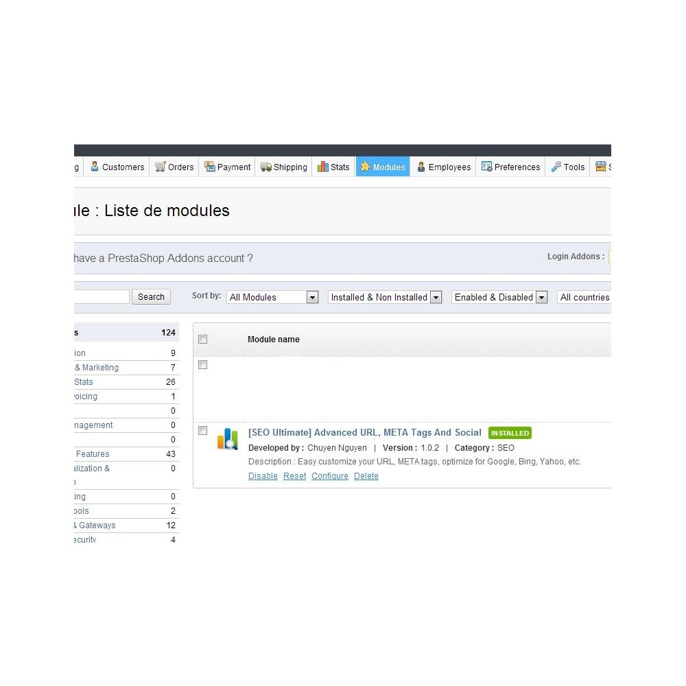 module - SEO (référencement naturel) - [SEO Ultimate] Advanced URL, META Tags And Social - 10