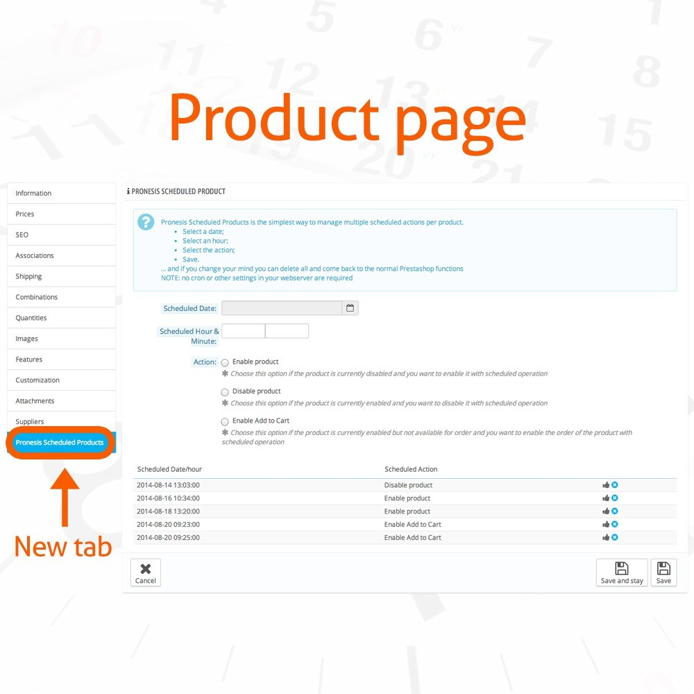 module - Administrationstools - Scheduled Products Publishing Actions - 2