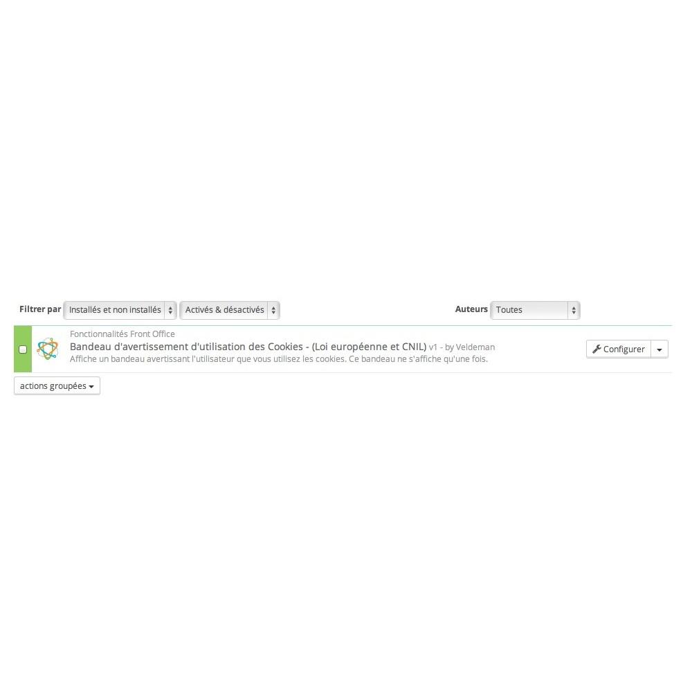 module - Législation - Bandeau d'avertissement Cookies Loi européenne et CNIL - 2