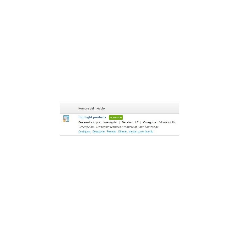 module - Productos en la página de inicio - Destacar productos rápidamente - 1