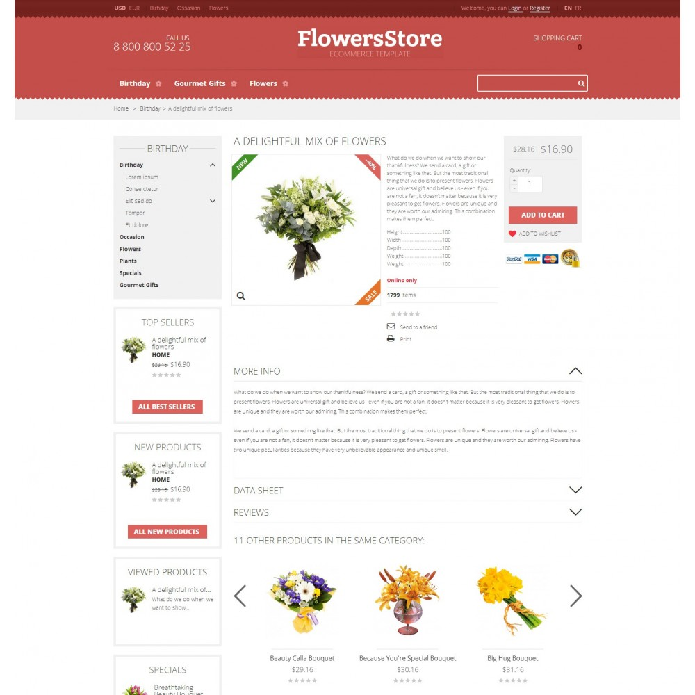 theme - Подарки, Цветы и праздничные товары - Flowers - Магазин Цветов - 4