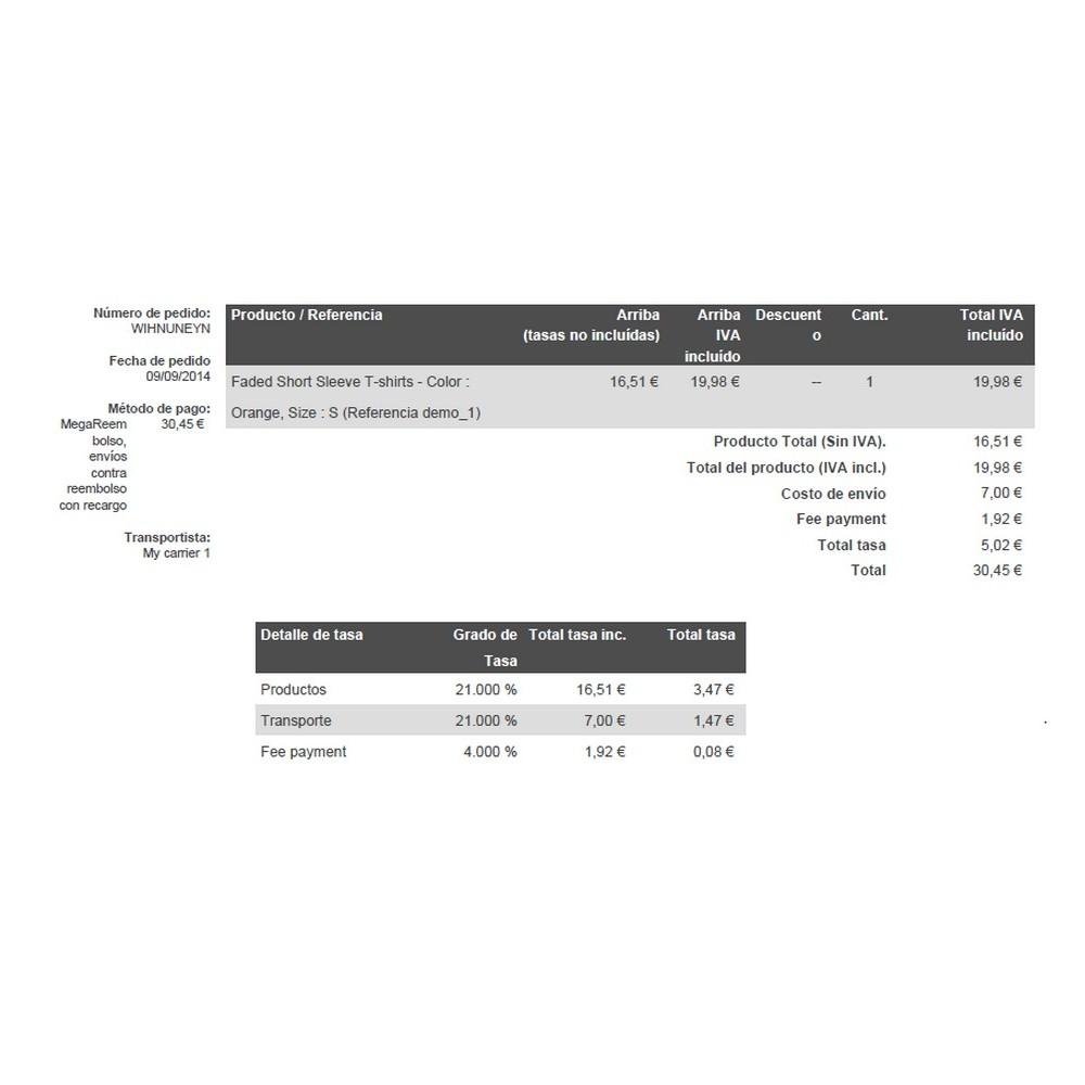 module - Pago a la Entrega (contrarrembolso) - Pago contrareembolso con recargo y limitaciones - 7