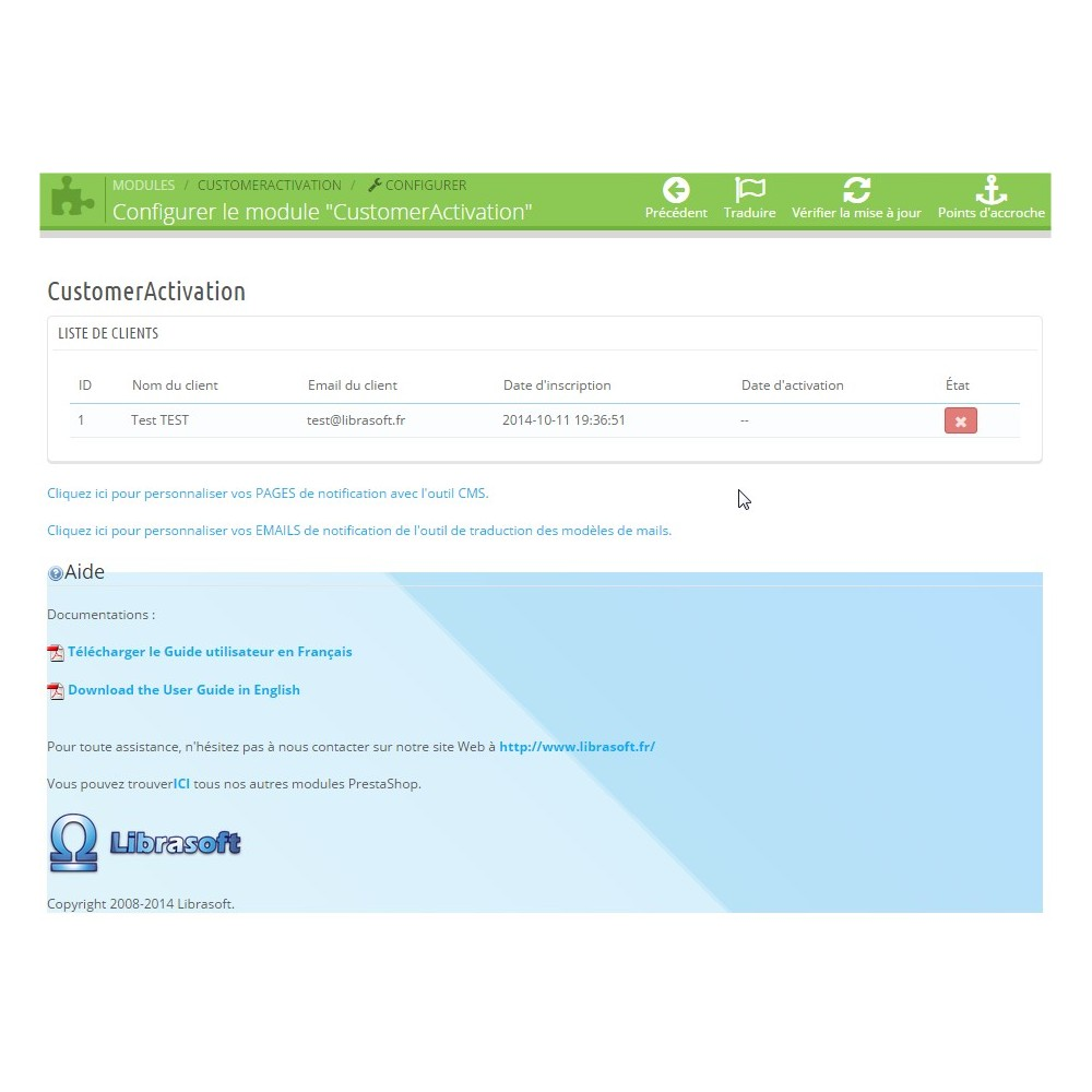 module - Customer Administration - Customer Activation / Activation Compte Client - 1