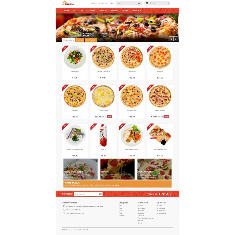 theme - Alimentos & Restaurantes - Pizza Fox Prestashop 1.6 Responsive Template - 2