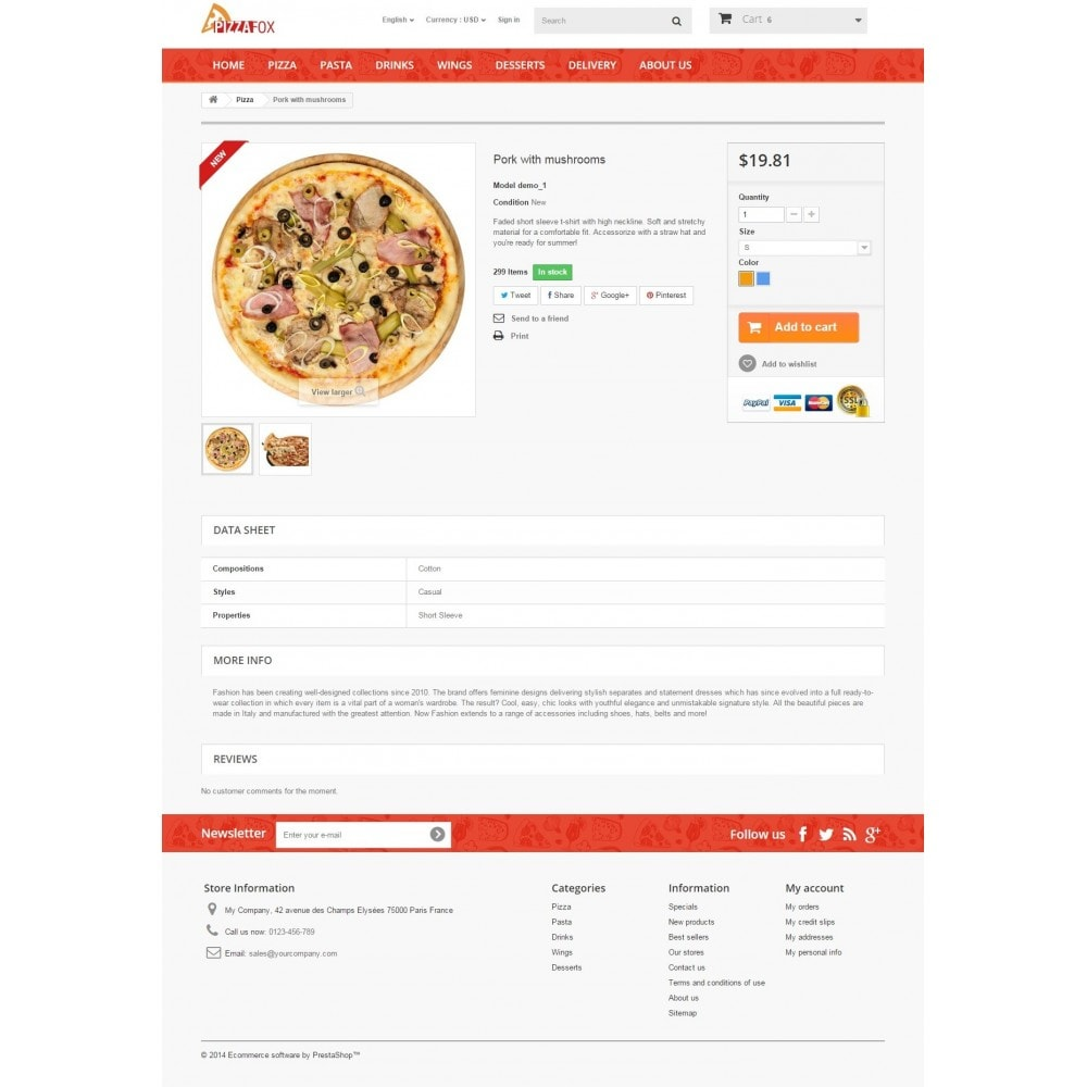 theme - Alimentos & Restaurantes - Pizza Fox Prestashop 1.6 Responsive Template - 8