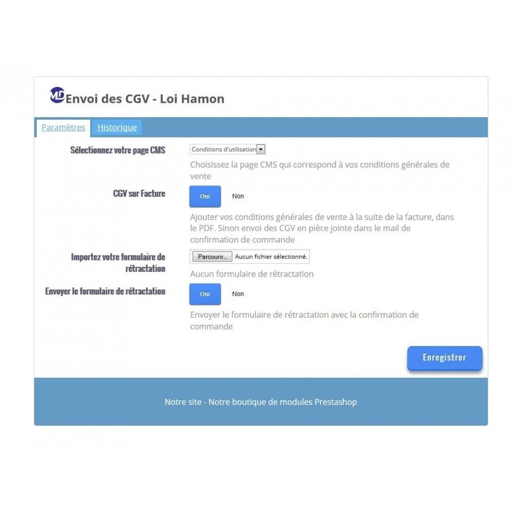 module - Législation - Envoi des conditions générales de vente - Loi Hamon - 1