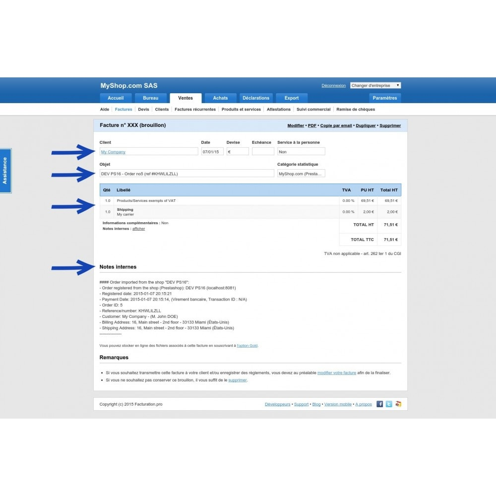module - Data Integraties (CRM, ERP...) - Connector www.facturation.pro (Mon AE, Ma TPE) - 9