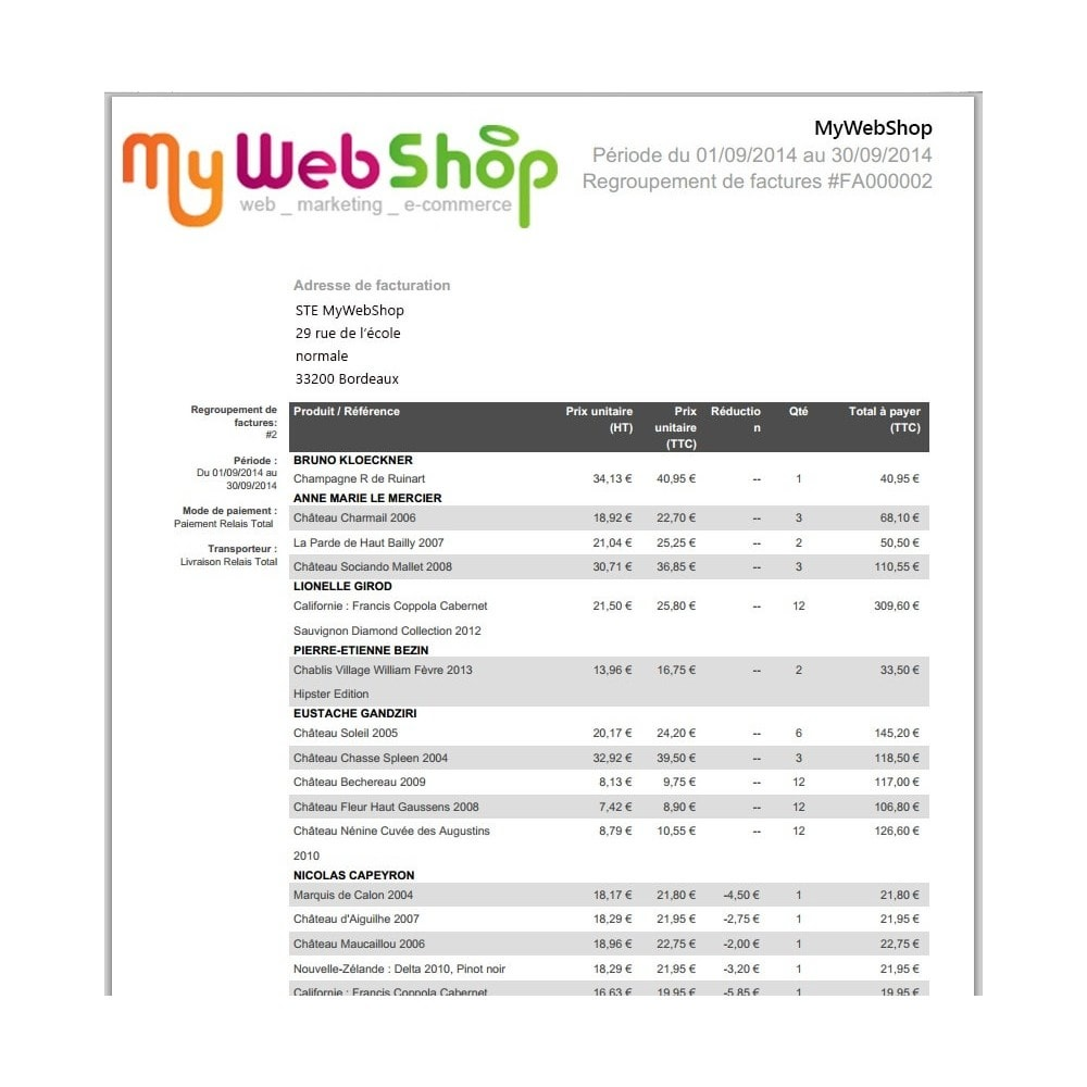 module - Księgowość & Fakturowania - Invoices for customers group - 1