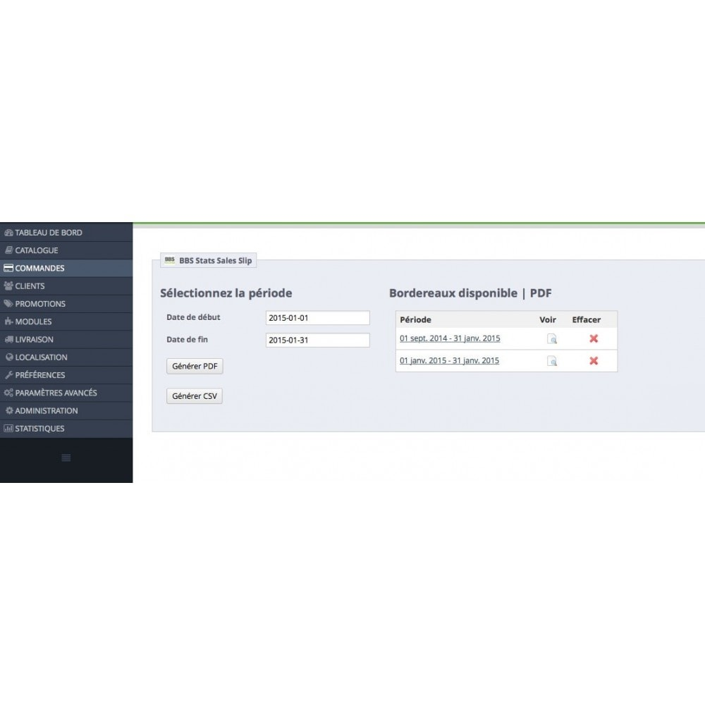 module - Importación y Exportación de datos - Sales Slip Export PDF & CSV - 1