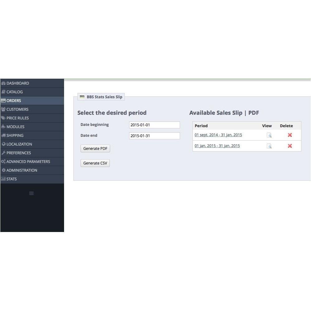 module - Importación y Exportación de datos - Sales Slip Export PDF & CSV - 2