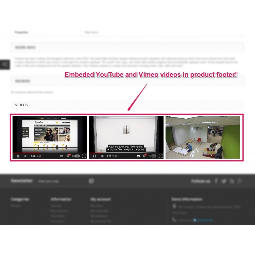 module - Video & Musica - YouTube and Vimeo product videos - 3