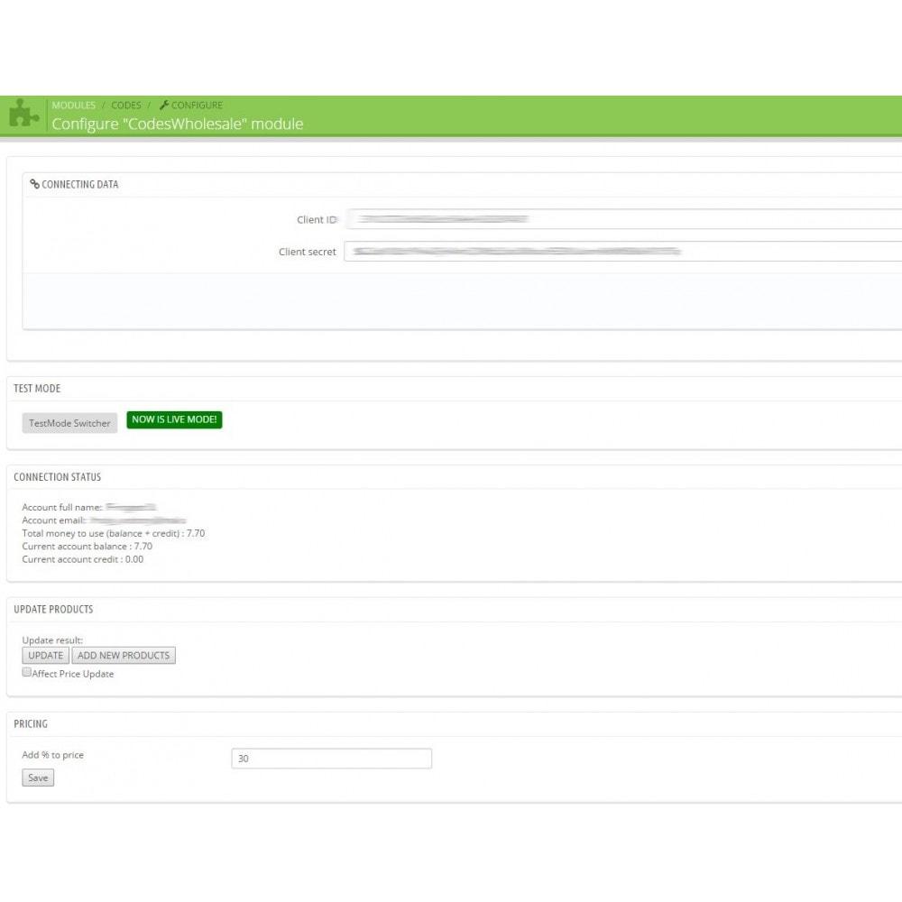 module - Prodotti Digitali - Game Codes Manager - 3
