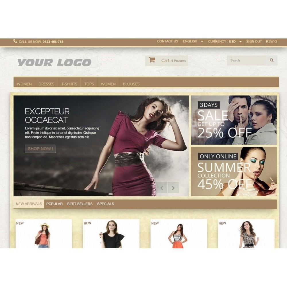 theme - Fashion & Shoes - Super Neutral - Prestashop Responsive 2 - 2