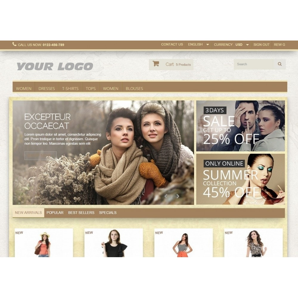 theme - Fashion & Shoes - Super Neutral - Prestashop Responsive 2 - 5