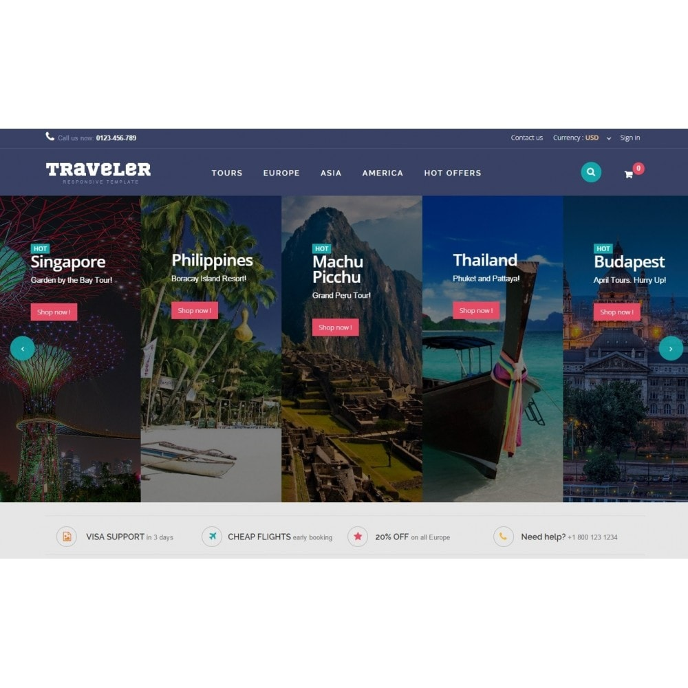 theme - Sport, Aktivitäten & Reise - Traveler Prestashop 1.6 Responsive Theme - 3