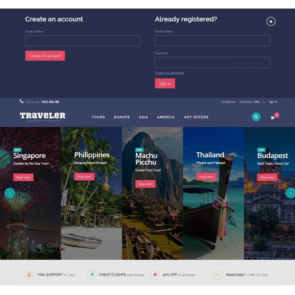 theme - Спорт и Путешествия - Traveler Prestashop 1.6 Responsive Theme - 5