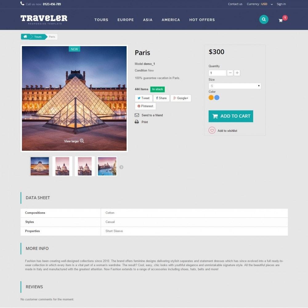 theme - Спорт и Путешествия - Traveler Prestashop 1.6 Responsive Theme - 9