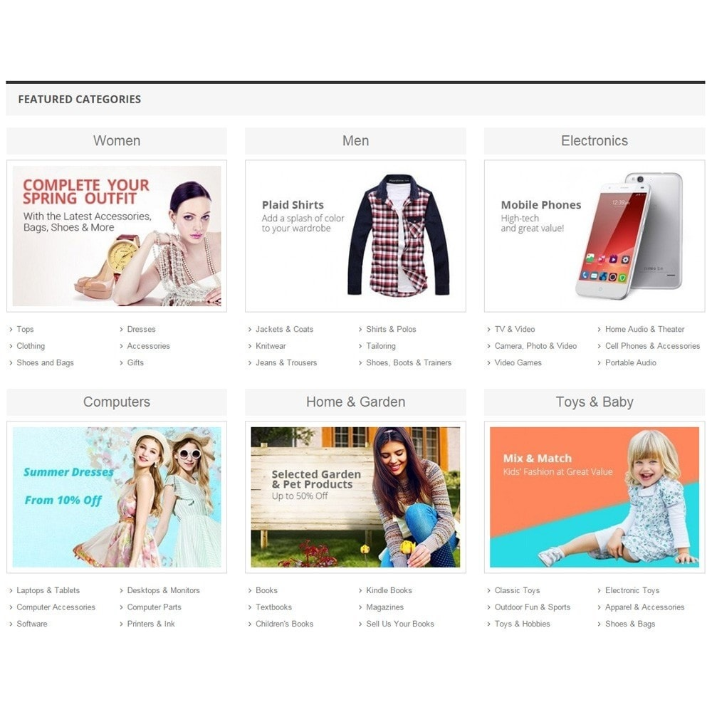 module - Products on Homepage - Zero Featured Categories - Thumbnail & Subcategories - 2