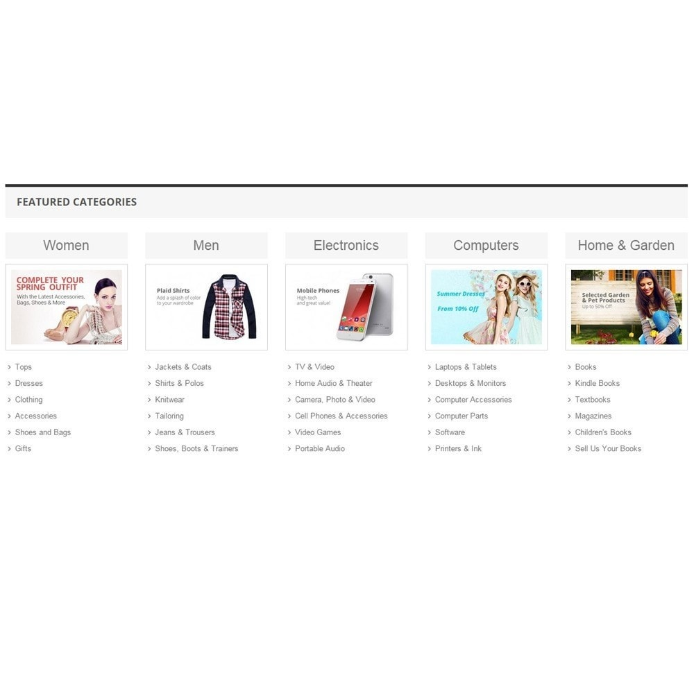 module - Products on Homepage - Zero Featured Categories - Thumbnail & Subcategories - 5