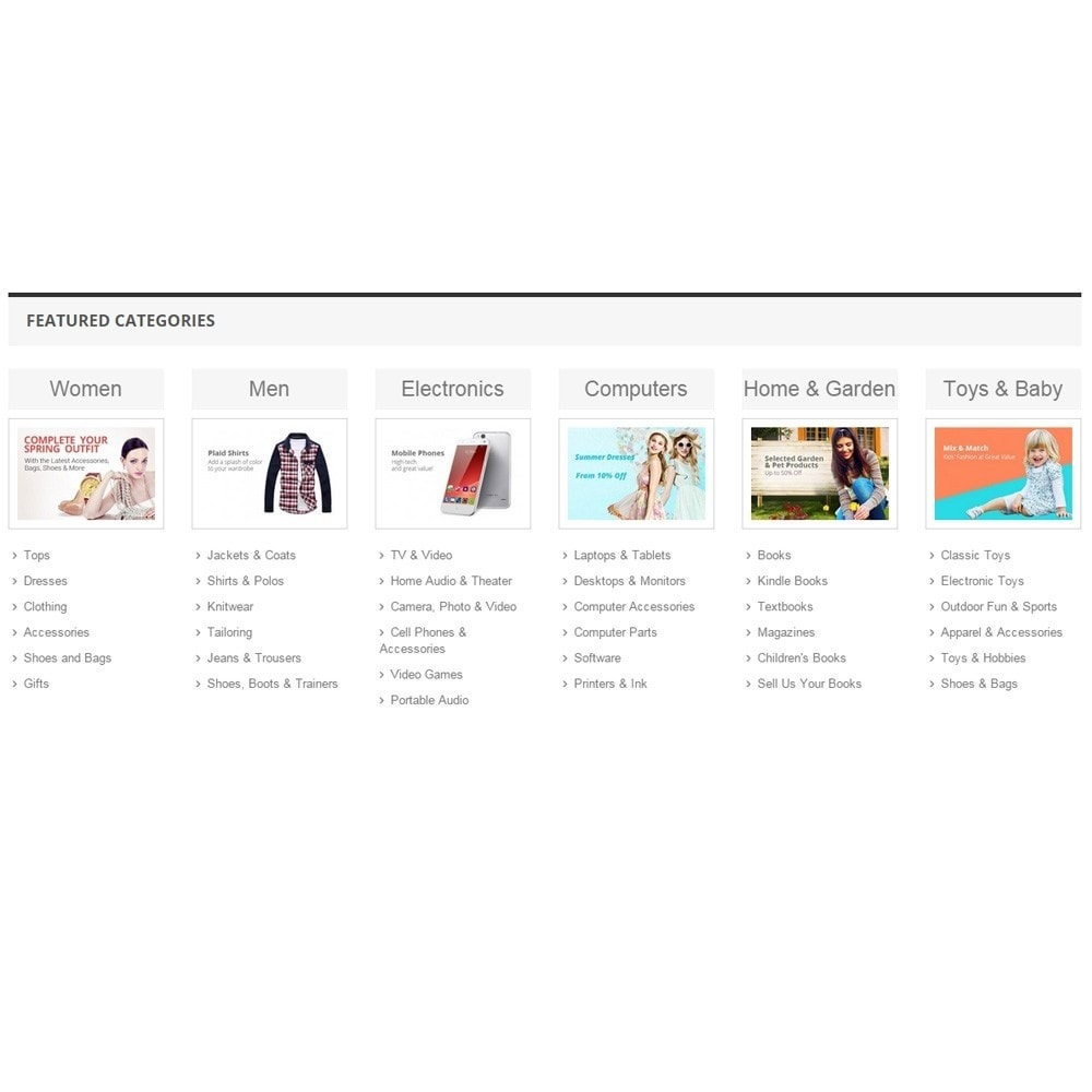 module - Products on Homepage - Zero Featured Categories - Thumbnail & Subcategories - 6