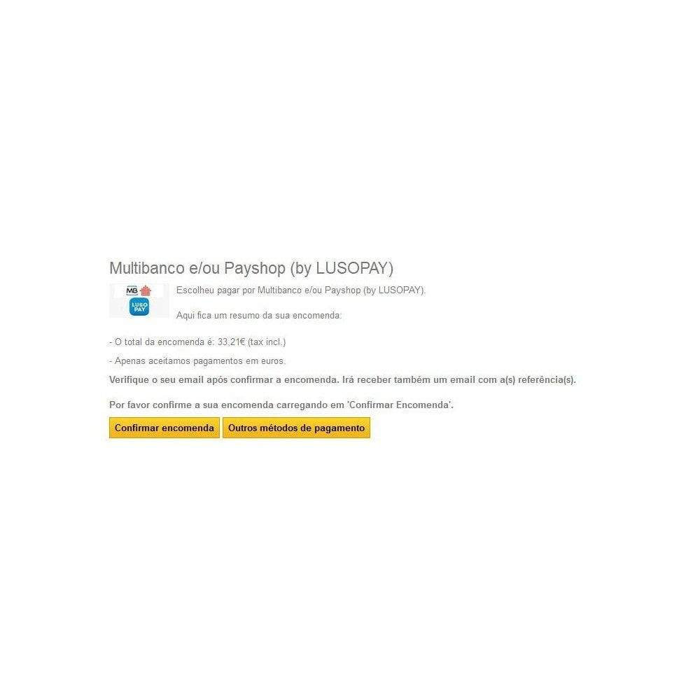 module - Pago en Tienda física (TPV físico) - Multibanco e Payshop by LUSOPAY - 2