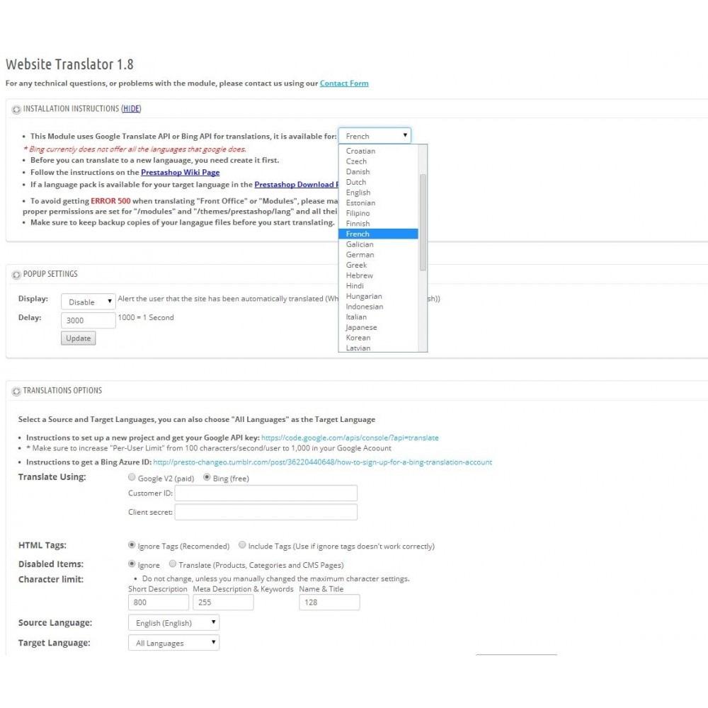 module - Internacionalización y Localización - Website Translator - 1