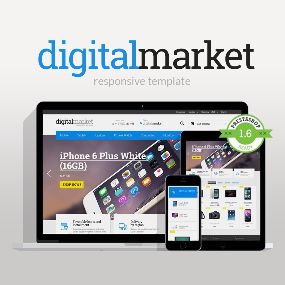 theme - Electrónica e High Tech - Digital Market Responsive Prestashop 1.6 Template - 1