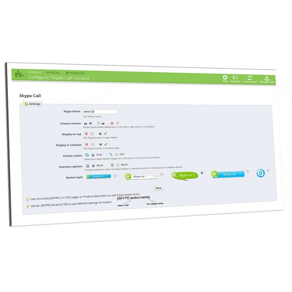 module - Suporte & Chat on-line - Skype Call and Chat support contact messaging best - 2