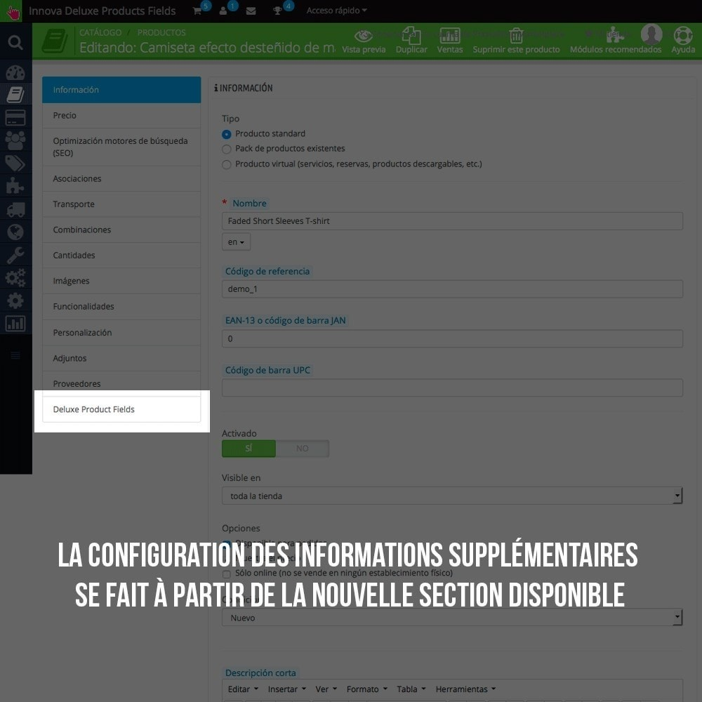 module - Information supplémentaire & Onglet produit - Informations supplémentaires sur la fiche article - 5