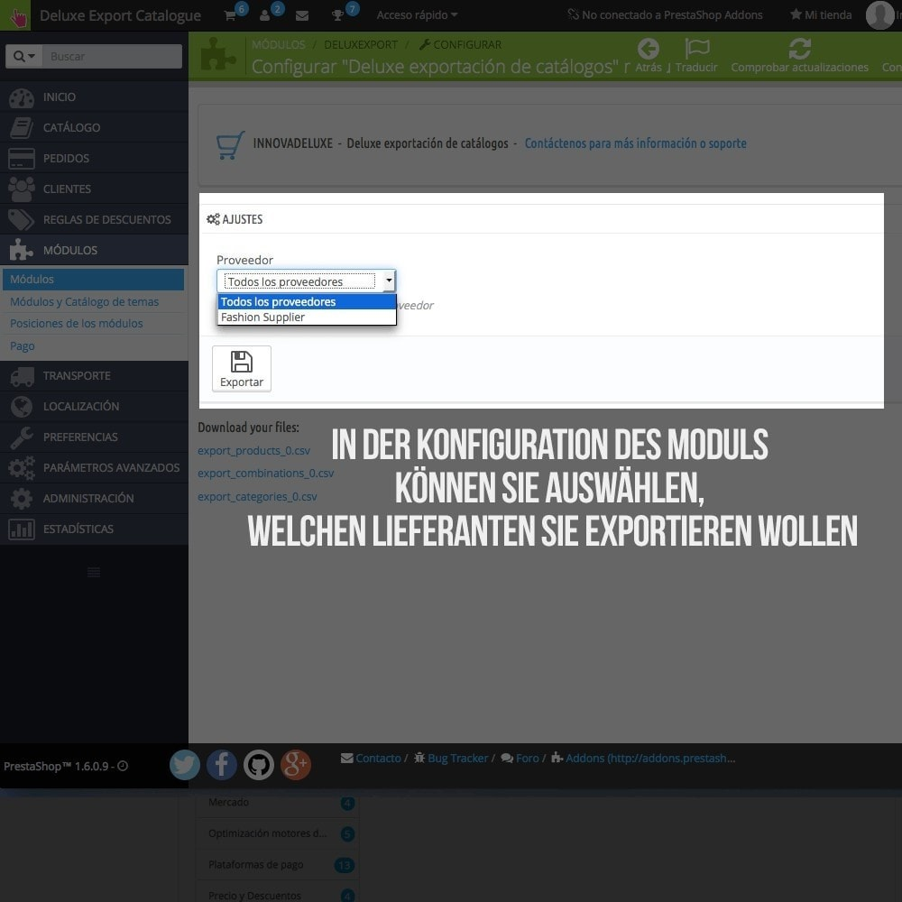 module - Daten Im-&Export - Katalogexporteur für Prestashop Importeur - 3