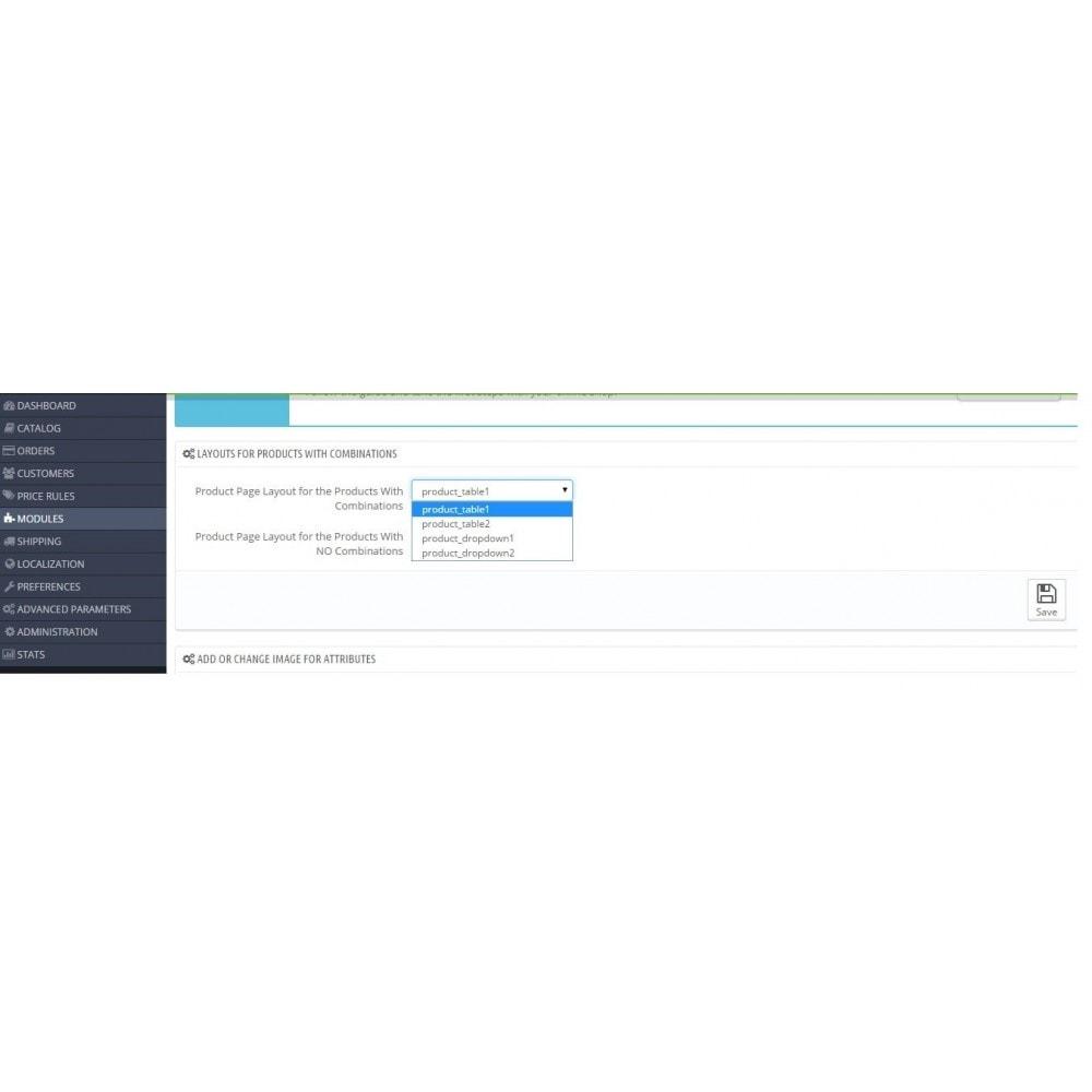module - Combinaciones y Personalización de productos - Product Customization Combinations Attributes with Cost - 3