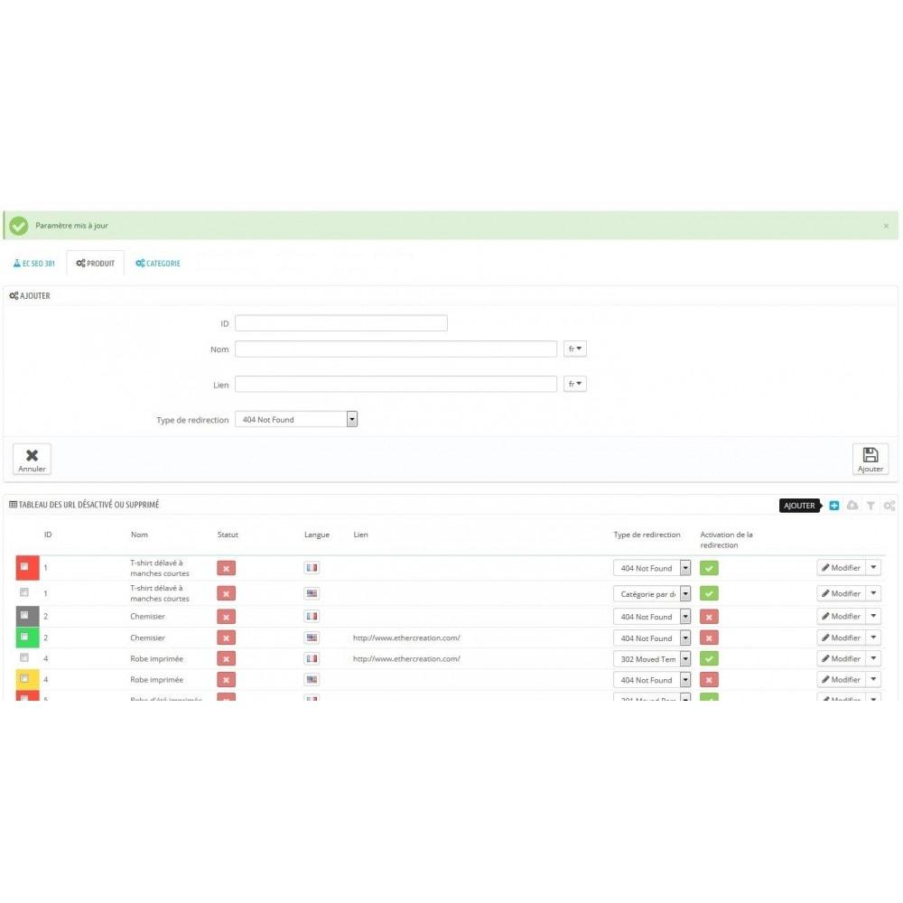module - URL & Redirections - SEO 404, 301 produits et catégories supprimé/désactivé - 3
