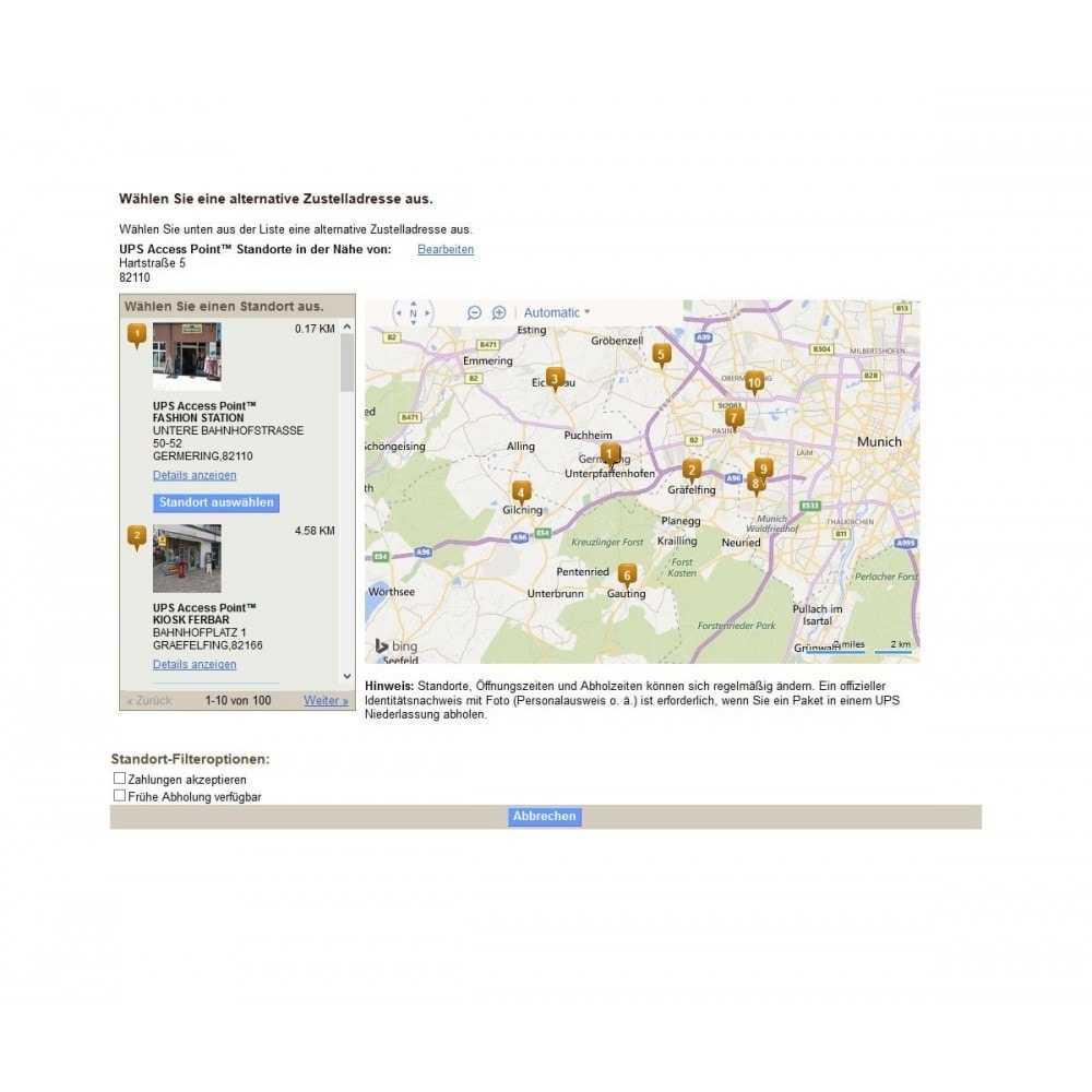 module - Abholstationen & Selbstabholer - UPS Store Locator - 3