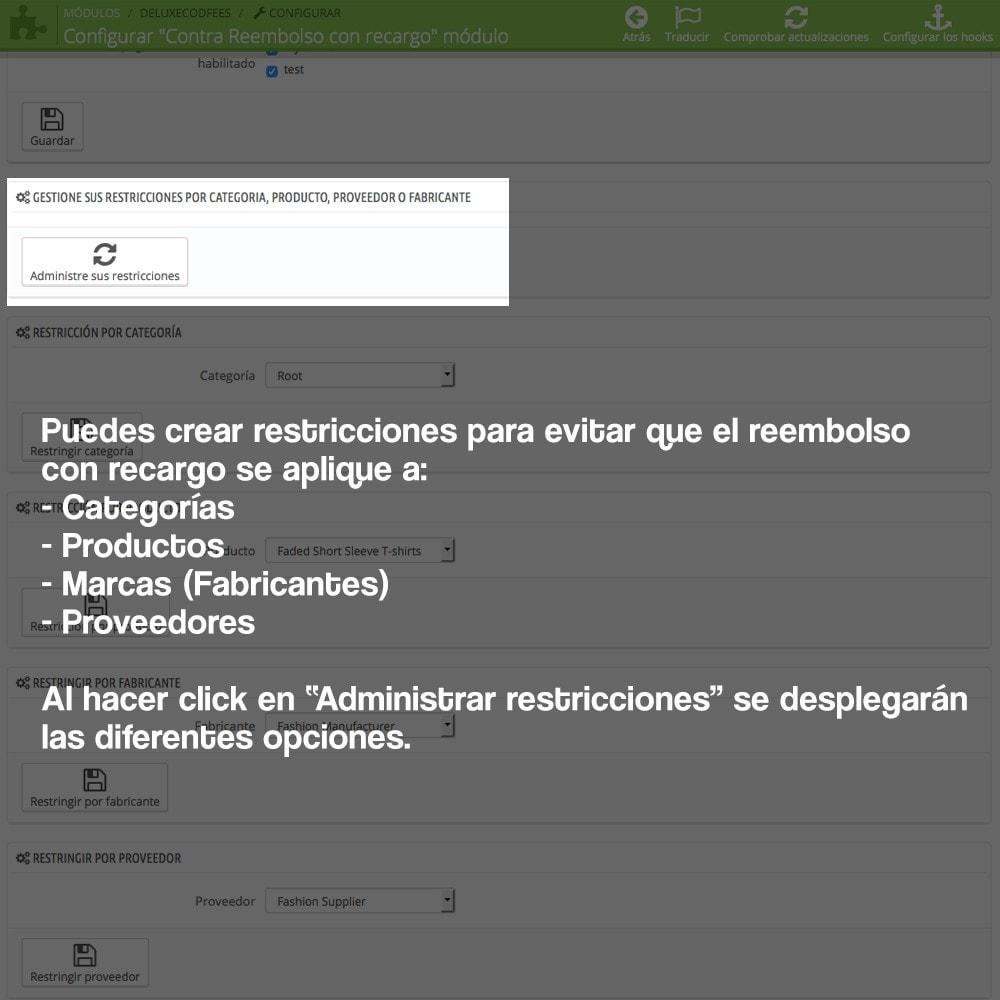 module - Pago a la Entrega (contrarrembolso) - Contra reembolso con recargo (rangos y restricciones) - 13
