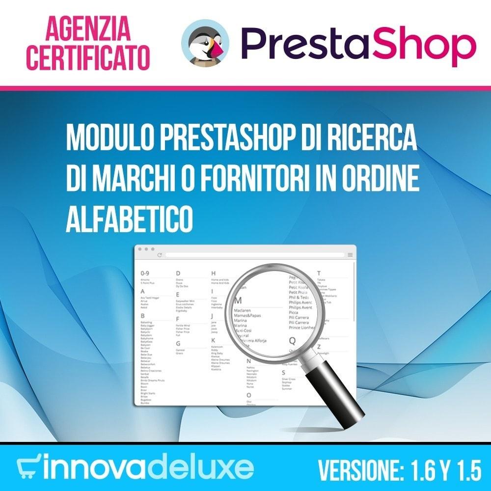 module - Ricerche & Filtri - Motore di ricerca alfabetico di marchi o fornitori - 1